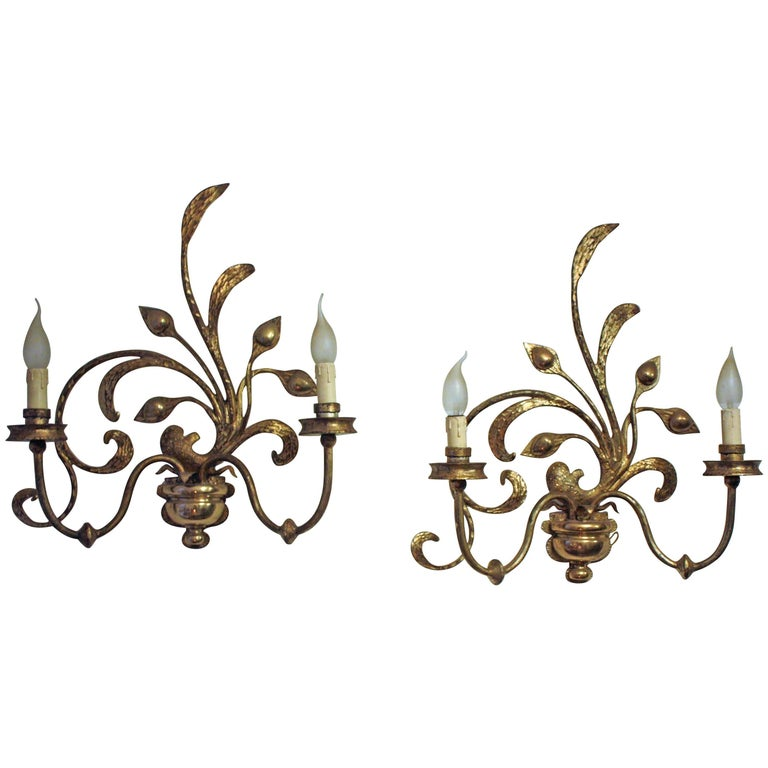 Very Rare Bronze Wall Sconces in the Style of Maison Bagues, France, 1950s