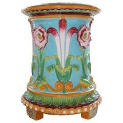 Victorian Minton Majolica 1876 Turquoise Ground Garden Seat with Passion Flowers