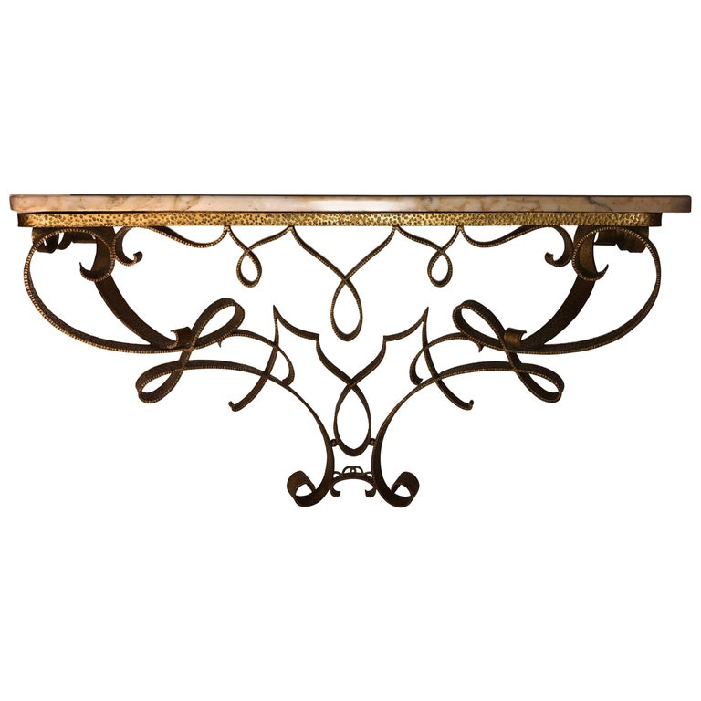Exceptional Wall-Mount Gilt Iron Console by Pier Lugi Colli, circa 1940s For Sale