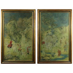 Chinese Ink and Color on Paper Framed Art a Monumental, Pair