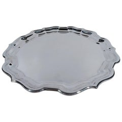 Cartier Sterling Silver Round Tray Piecrust Chippendale Pattern