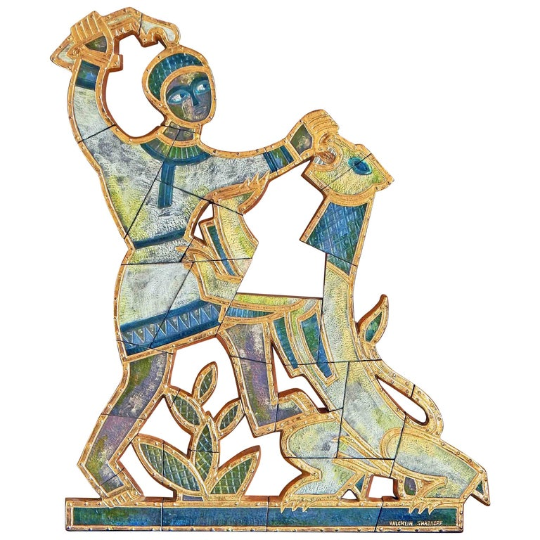 A tour de force example of Art Deco wall sculpture, this depiction of Samson slaying the lion was made by Valentin Shabaeff, a Russian-Canadian artist who settled in Montreal. Shabaeff became known for bas relief sculptures executed in ceramic,