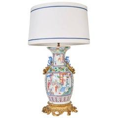 Antique Bronze-Mounted Chinese Famille Rose Mandarin Vase Mounted as a Lamp
