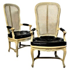 Hollywood Regency Cane Back Chairs style Louis XV