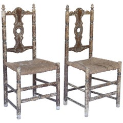 Pair of Antique Rush Seat Painted Side Chairs