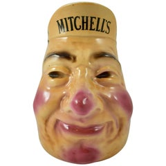 English Staffordshire Mitchell's Irish Whiskey Pub Advertising Face Jug
