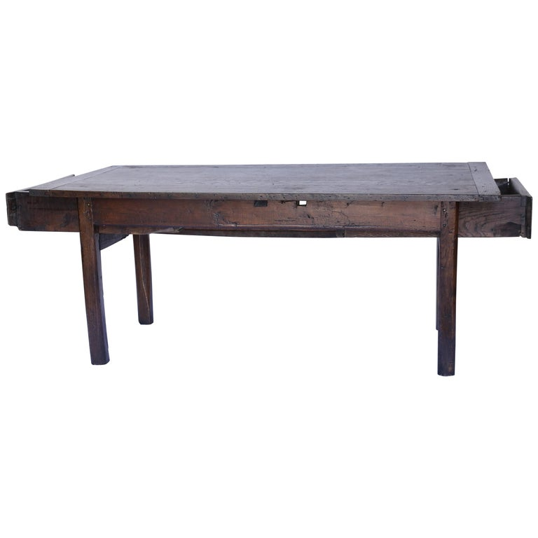 Antique French Farm Table with Two Drawers, Circa 1820