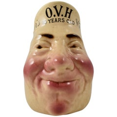 French Sarreguemines Advertising Face Jug, for Ovh Greer's Scotch Whiskey