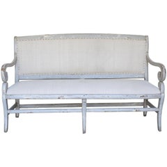 Painted Settee with Vintage Fabric