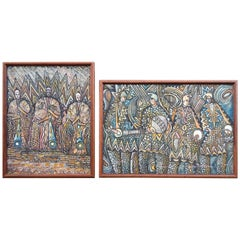 Set of Two Vintage African Tribal Paintings in Worm-Wood Frames