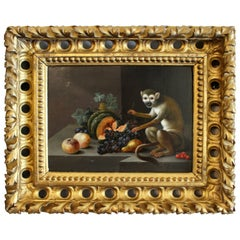 Charming Image in Still Life Fashion of a Monkey with Various Fruit