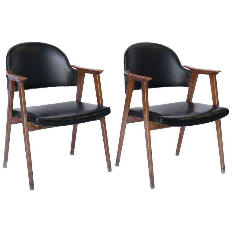 Pair of Midcentury Oak and Leather Armchairs