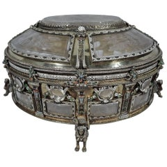 Antique Viennese Silver Gilt and Rock Crystal Casket with Astrological Symbols