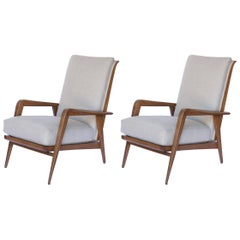 Pair of Milo Baughman Era Danish Modern Reclining Chairs