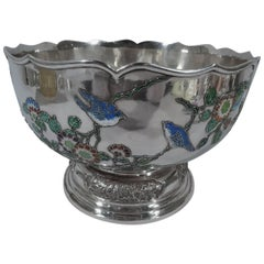 Very Fine Chinese Silver and Enamel Centrepiece Bowl by Wang Hing