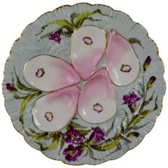 French Porcelain Hand-Painted Violets on Pale Blue Oyster Plate