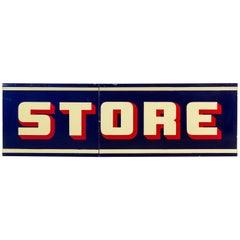 Vintage Enamel and Porcelain 'STORE' Trade Sign