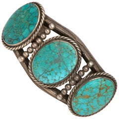 Vintage Old Pawn Navajo Bracelet with Silver and Turquoise, circa 1930
