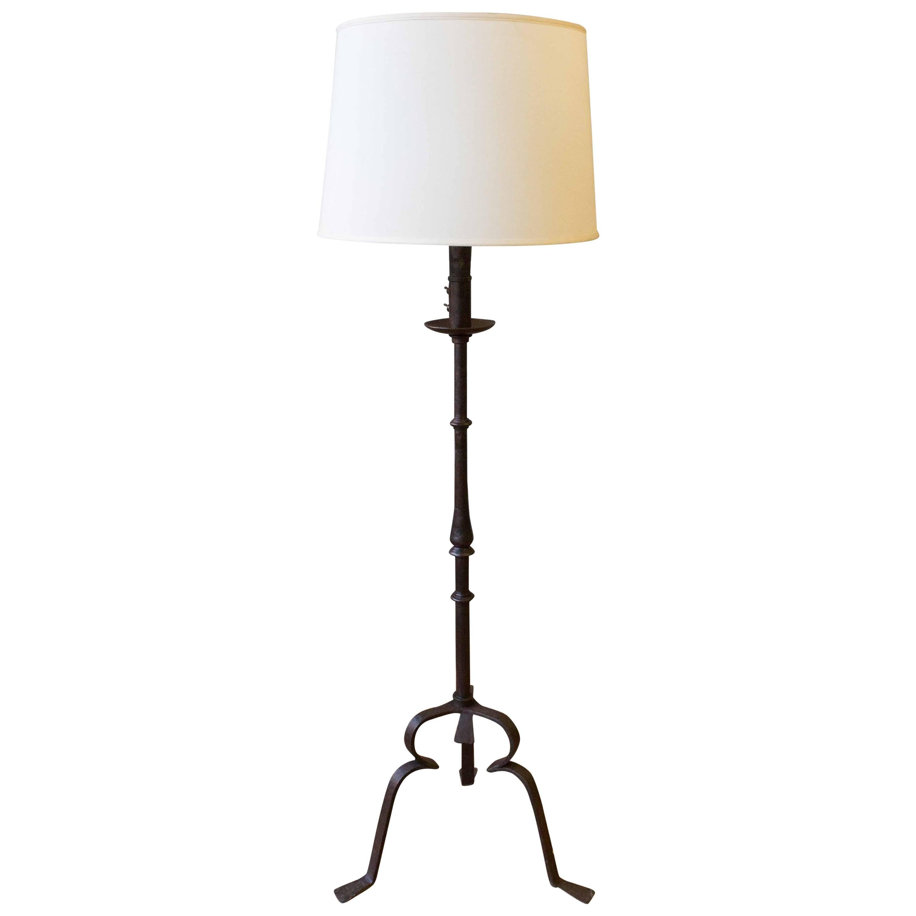 Spanish Wrought Iron Floor Lamp with a Tripod Base