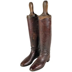Antique Brown Leather Riding Boots with Trees, 1890s Austria