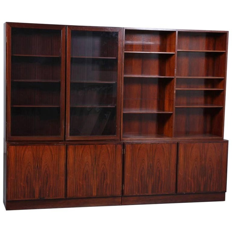 Midcentury Danish Rosewood Bookcase Cabinet by Omann Junior