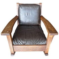 American Arts & Crafts Mission Rocking Chair by Limberts & 2 Leather Cushions.