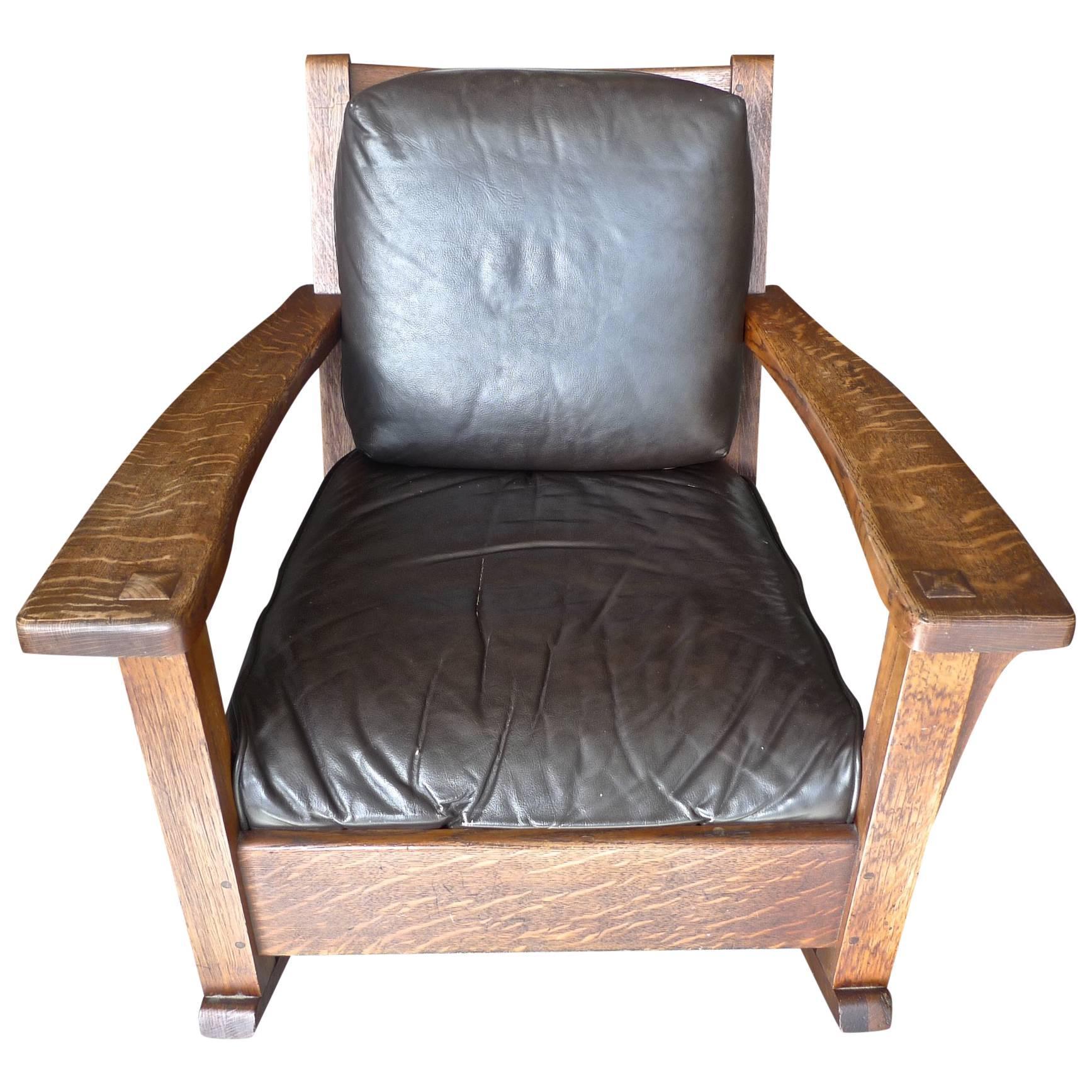 American Arts U0026 Crafts Mission Rocking Chair By Limberts U0026 2 Leather  Cushions.