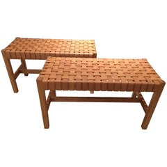 Pair of Woven Leather Benches, circa 1990