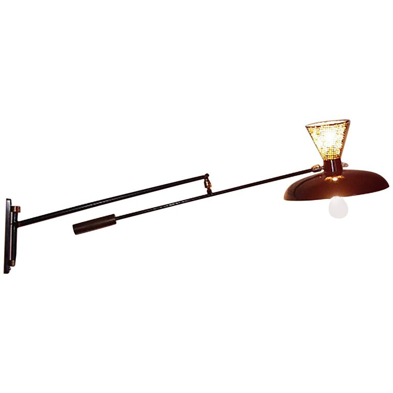 Italian Adjustable Wall Lamp in the Arredoluce Style, Milano, 1950s For Sale