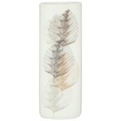 Hutschenreuther Selb Porcelain Vase Leaf White Grey Gold Signed Germany, 1960s