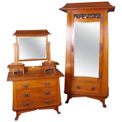 Arts & Crafts Oak Bedroom Set Wardrobe and Dressing Table By Maple & Co