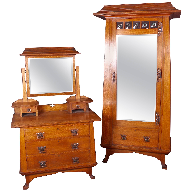 Arts U0026amp; Crafts Oak Bedroom Set Wardrobe And Dressing Table Possibly For  Liberty