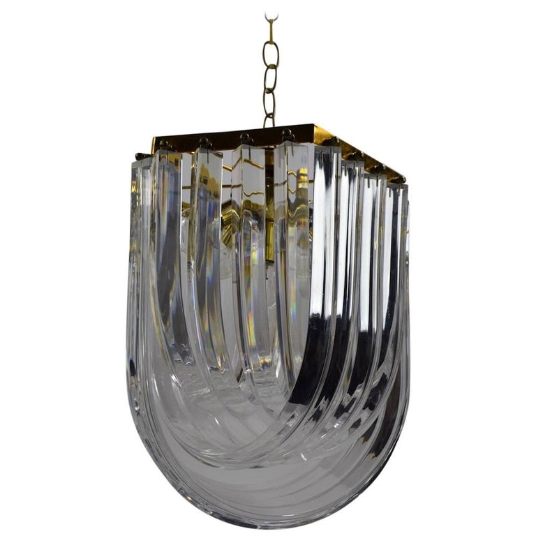 Brass and Lucite Swag Chandelier