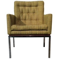Restored Mid-Century Modern Chair on Chrome and Walnut Base by Drexel