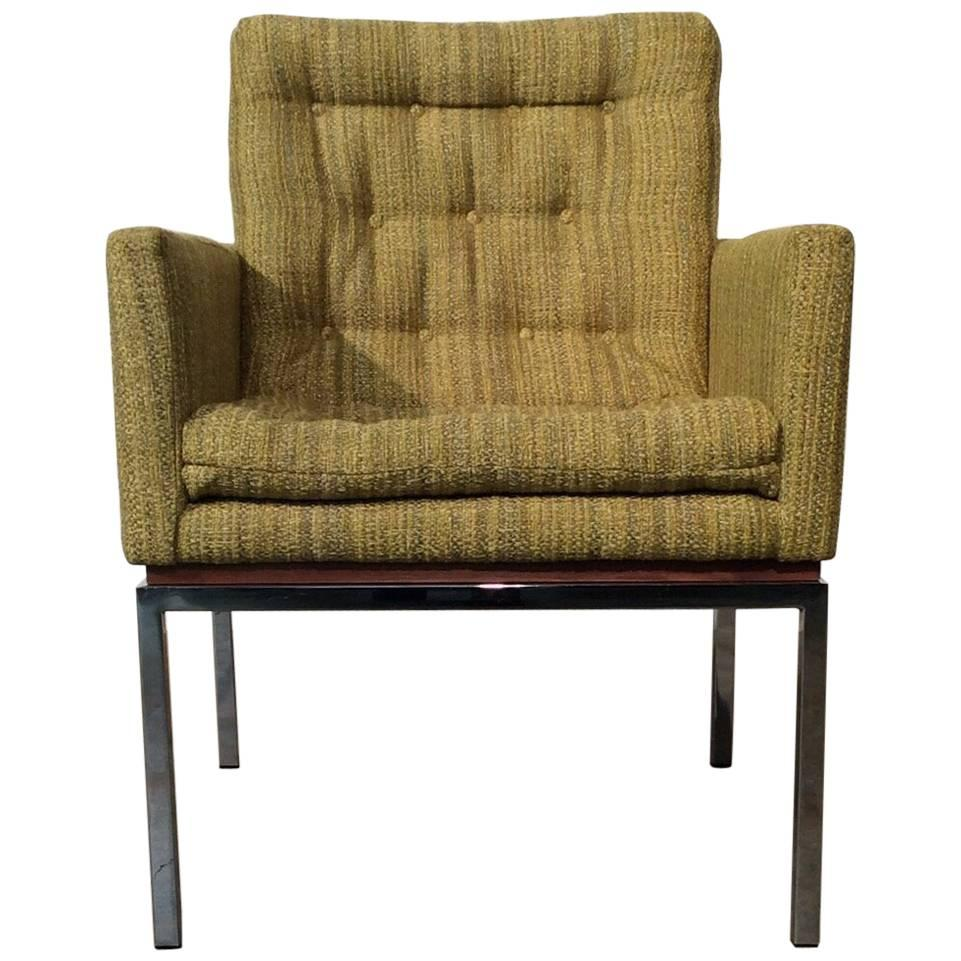 Restored Mid Century Modern Chair On Chrome And Walnut Base By Drexel
