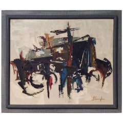 Mid-Century Modern Abstract Art on Canvas, Framed and Signed