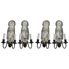 Set of Four Chinoiserie Motif Mirrored Back Sconces, by E.F. Caldwell