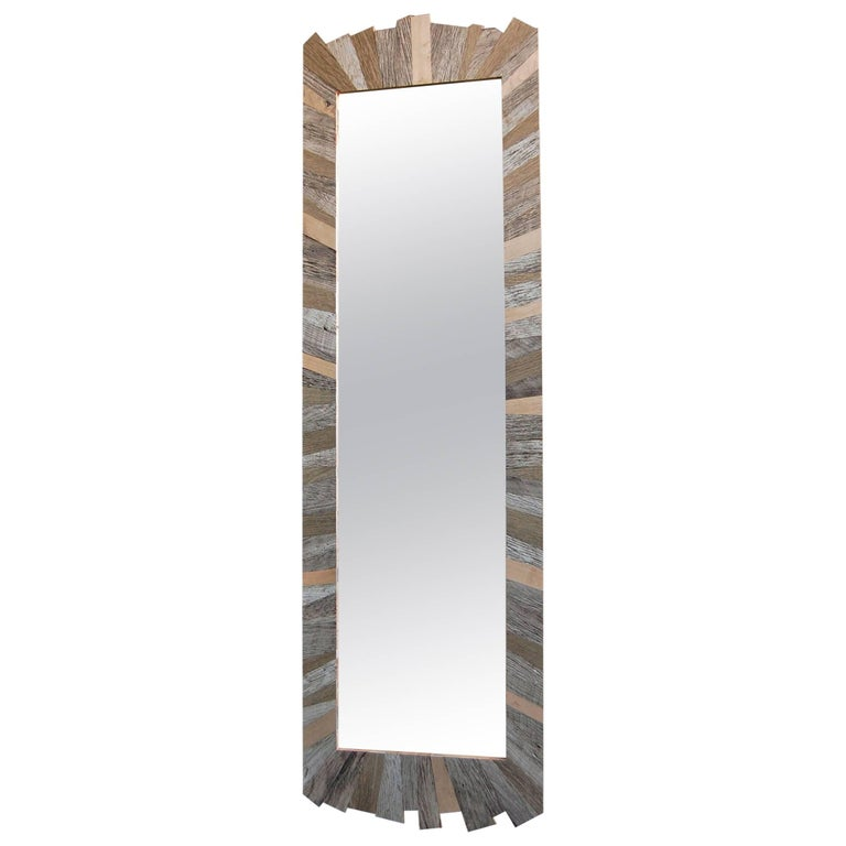 Wall Mount Mirror with Reclaimed Wood Frame