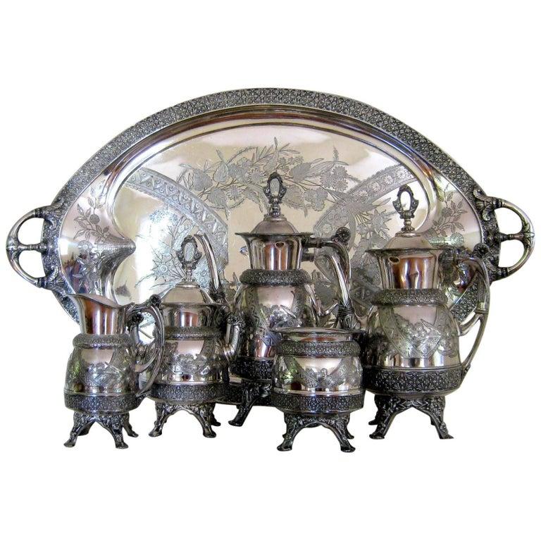 Victorian Aesthetic Silver Plate Tea Set & Tray, circa 1878, Antique Meridan B.