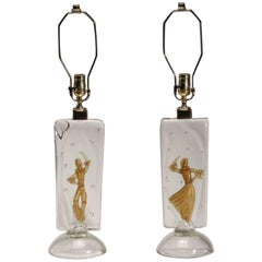 Pair of Rare Alfredo Barbini Murano Dancer Lamps for Cenedese, 1950s