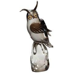 Large Licio Zanetti Murano Art Glass Owl Sculpture with Murrine Eyes