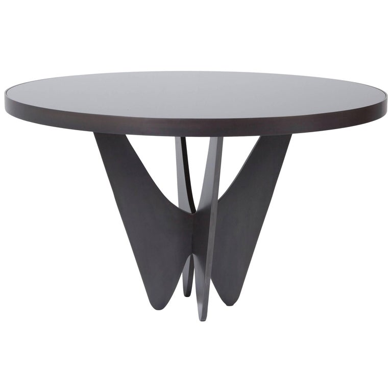Papillon Metal and Glass Round Dining Table by Soraya Osorio For Sale