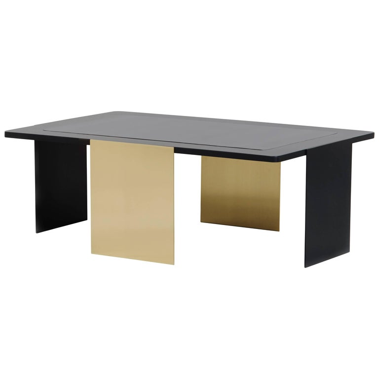Ultimo Brass and Black Steel Coffee Table by Soraya Osorio