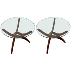 Pair of Danish Walnut Base Glass Top Occasional Tables