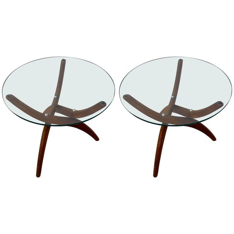 Pair of danish walnut base glass top occasional tables at for Glass top occasional tables