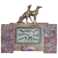 French Art Deco Mantel Clock with Bronze Dogs by Rene Neuhaus of Limoges