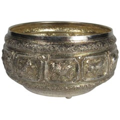 Vintage Large Burmese Hand-Hammered Silver Bowl with Repousse Zodiac Decoration