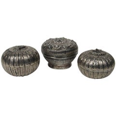 Three Vintage Burmese Silver Betal Nut Boxes
