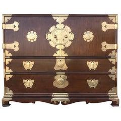 Midcentury Korean Brass-Mounted Elm Sideboard or Tansu, Restored