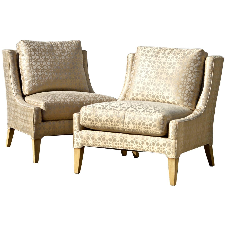 Marvelous Slipper Chairs In Quatrefoil Silk Fabric, A Pair
